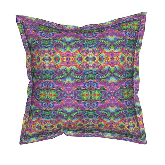 Serama Throw Pillow featuring Hippie Fractal Pattern by hippygiftshop | Roostery Home Decor