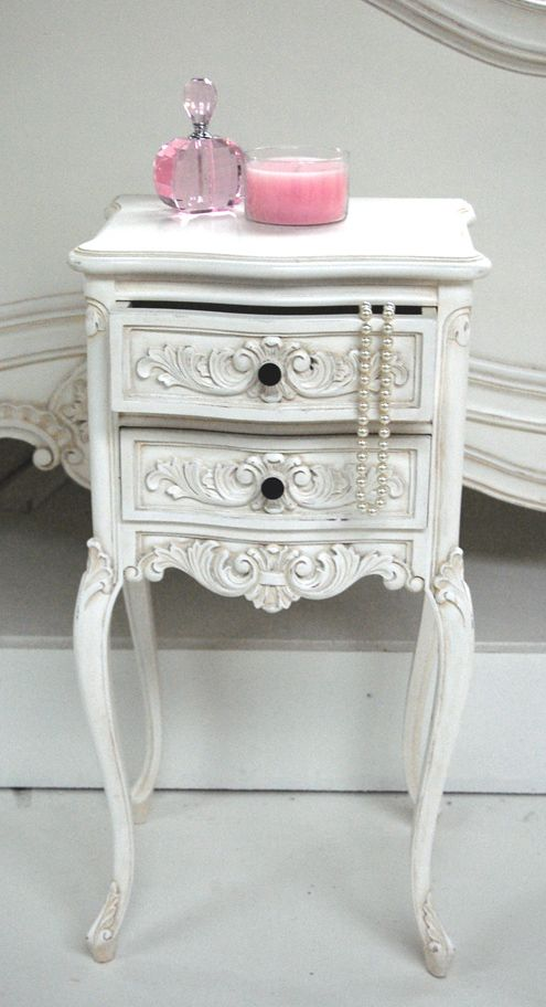 sweet bedside table- could paint it different colors to match the walls and accessories