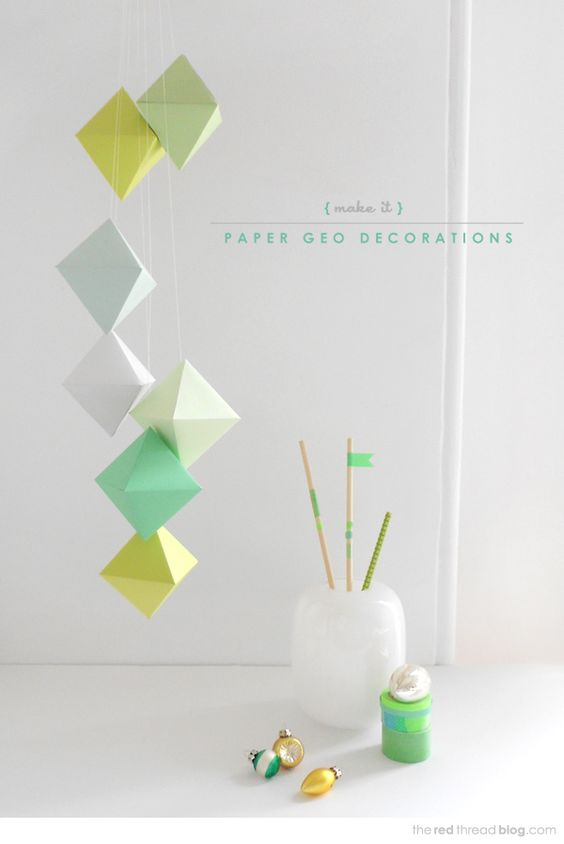 Craft geo paper christmas decorations printable for Paper decorations diy