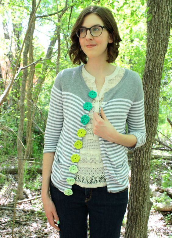 #crochet button makeover by One Sheepish Girl. So colorful and fun!