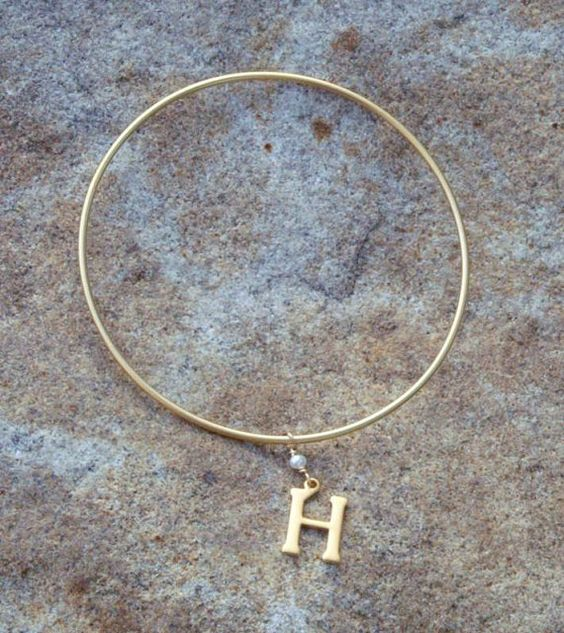 Gold Bangle with Initial Charm by BrownEyedGirlSB on Etsy, $10.00