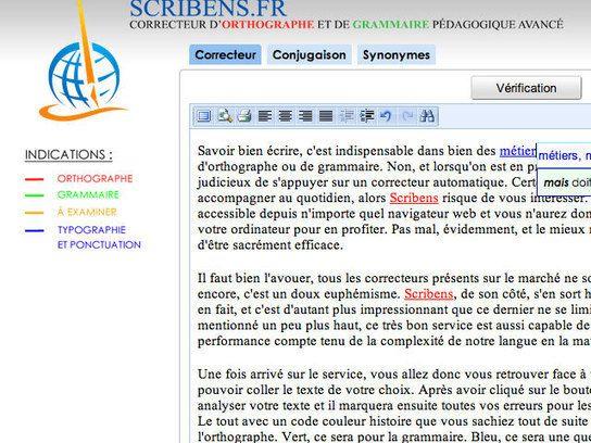 Scribens, un correcteur d'orthographe et de grammaire accessible directement en ligne