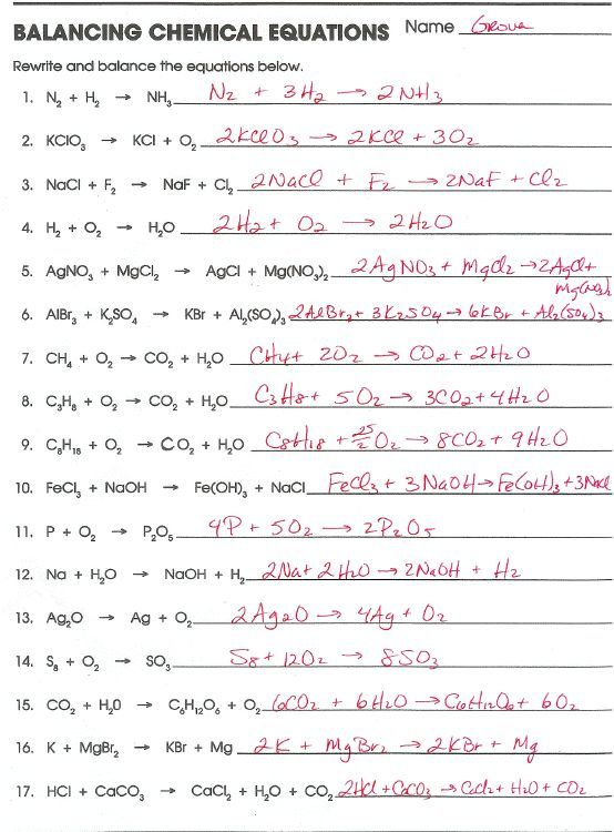 Balancing Chemical Equations Worksheets With Answers Chemistry Lessons, Chemical  Equation, Chemistry Worksheets