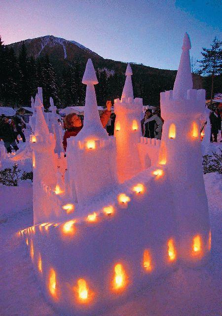 lighted castle snow sculpture #snowSculpture #snow #winter #sculpture #castle