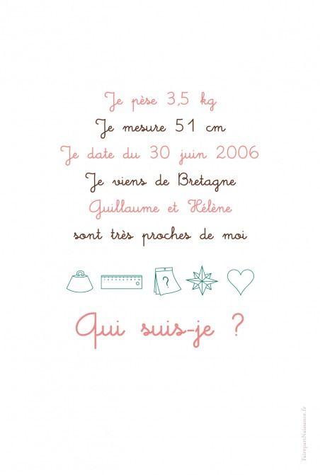 Faire-part de naissance(baby announcement): Enigme fille - by Marion Bizet pour http://www.fairepartnaissance.fr #naissance #fairepart #birth