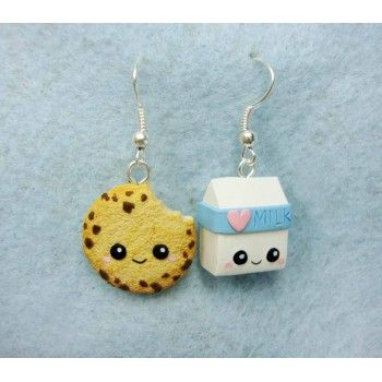 cookie milk fimo handmade hecho a mano polymer clay earrings pendientes galleta leche kawaii. Black Bedroom Furniture Sets. Home Design Ideas