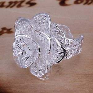 New Women Fashion Flower Ring 925 Sterling Silver Plated Jewelry Size 8