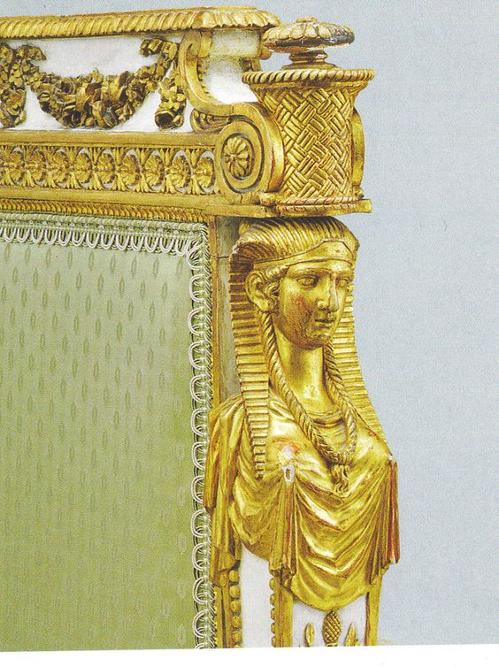 Detail of Marie Antoinette's daybed. Egyptian revival. Sphinx head details