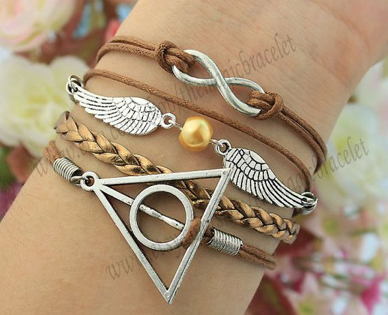 Bracelet  Infinity Wings & Deathly Hallows by themagicbracelet, $5.59