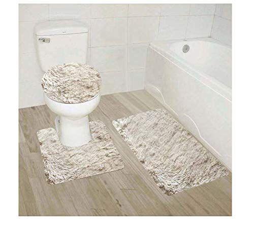 Golden Linens 3 Piece Shaggy Hairy Bathroom Rug Set Bath With