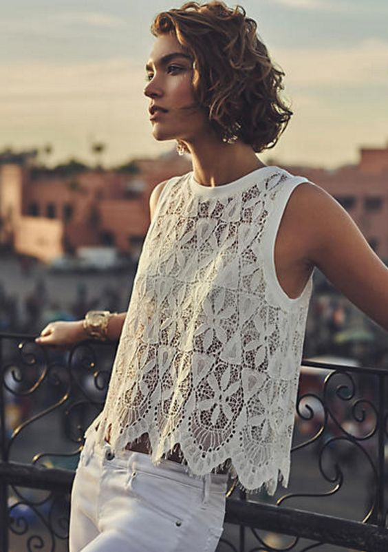 Scalloped Lace Tank in White
