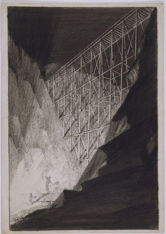 From 'Industrial Strength: Selections from the Collection': Hugh Ferriss, Explosion-The Trestle, c. 1940, charcoal on wove paper, 25 9/16  x 18 1/8 in., gift of John Davis Hatch, Jr., 1961.19