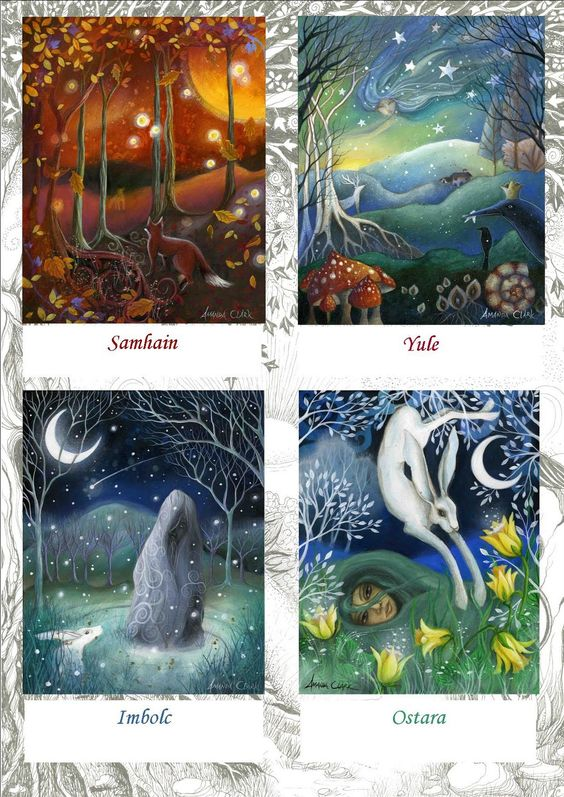 Celtic Festivals. The four seasons. Earth Angels Art. Amanda Clark