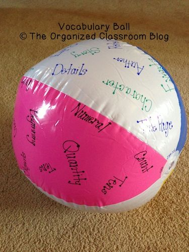 Write vocab words on the ball, as students toss the ball to each other around the room, whatever word their right thumb lands on (or closest to) is the word they  must explain, define, or use in  a sentence.