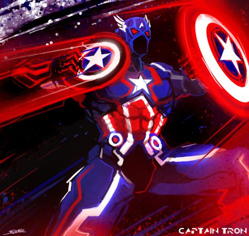 crazy techno-Tron style Captain America #Comics #Cartoons