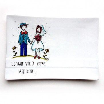 Assiette décorative mariage rectangle • Longue vie à votre amour - Cadeau peint à la main par l'artiste Isabelle Malo  http://www.isamalo.com