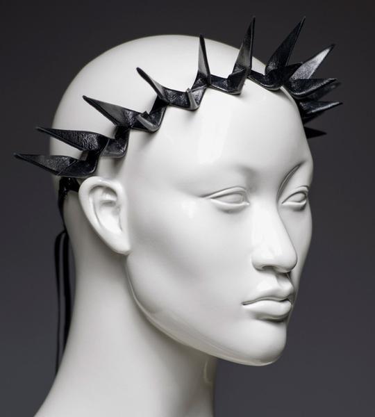 Black leather spike headband crown