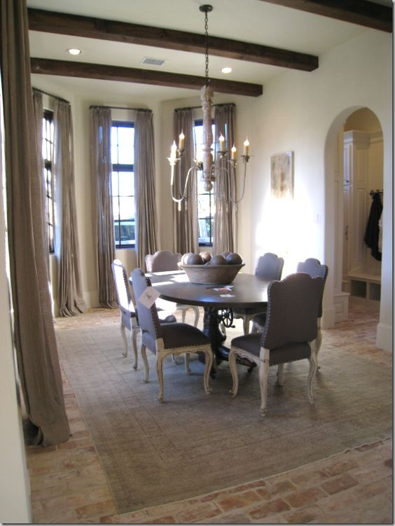 High ceilings brick flooring and old world on pinterest for French country flooring