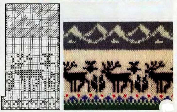 Reindeer Knitting Pattern Chart : Reindeer with mountains, knit Motifs and ornaments Pinterest Reindeer, ...