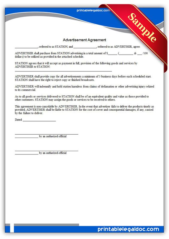 Free Printable Advertiser Agreement Legal Forms  Free Legal Forms