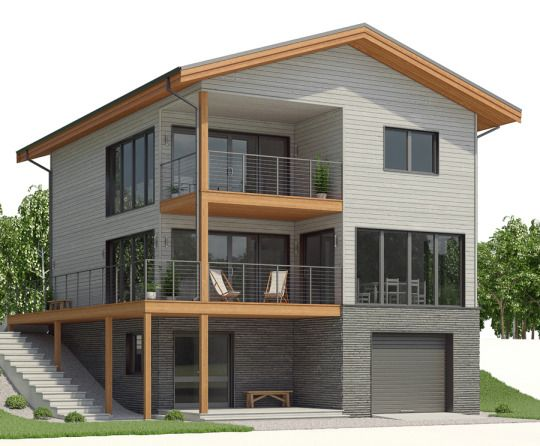 House Plan Ch509 Sloping Lot House Plan House Architecture Design Home Building Design