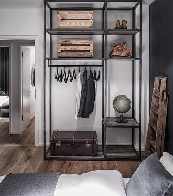 Masculine/industrial clothes rack: