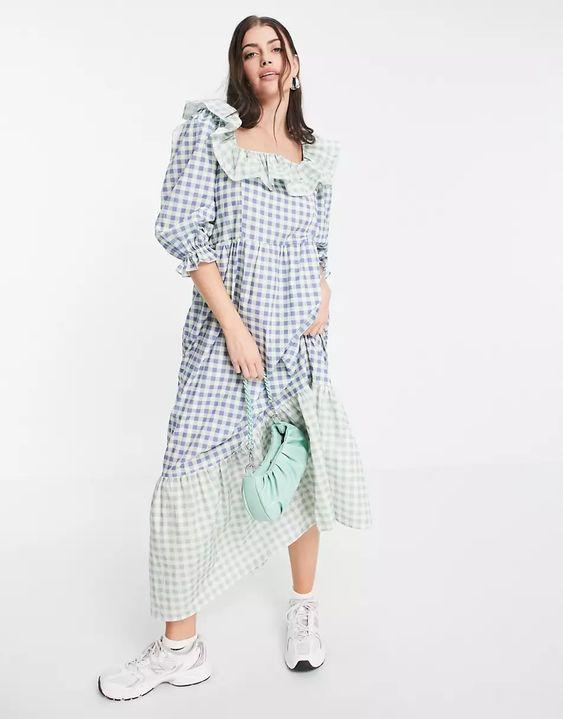 Damson Madder organic cotton maxi smock dress in mix check | ASOS