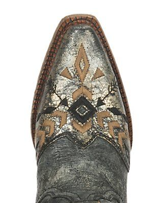 Corral Women's Metallic Black with Aztec Embroidery Snip Toe Western Boots