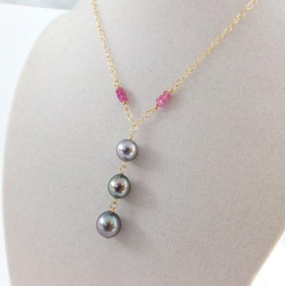 Tahitian pearl necklace sapphires saltwater by SimplyAdorned4U