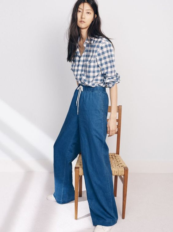 madewell indigo drawstring pants worn with the cargo workshirt + sneakers | Style | Fashion | The Lifestyle Edit