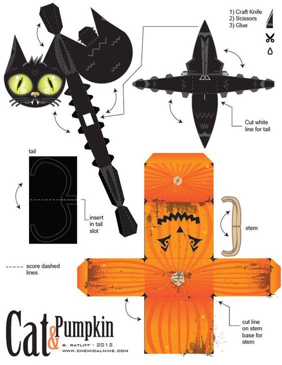 Chat citrouille halloween paper toy bricolage enfants pinterest jouets en papier - Citrouille halloween en papier ...