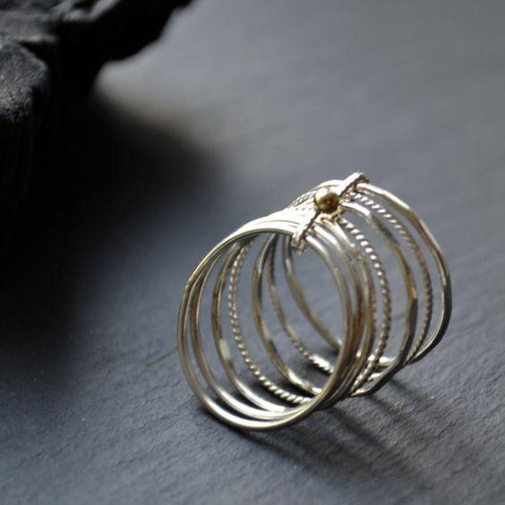 Semainier - bague en or de 14k et argent | Silver rings, Etsy and Gold