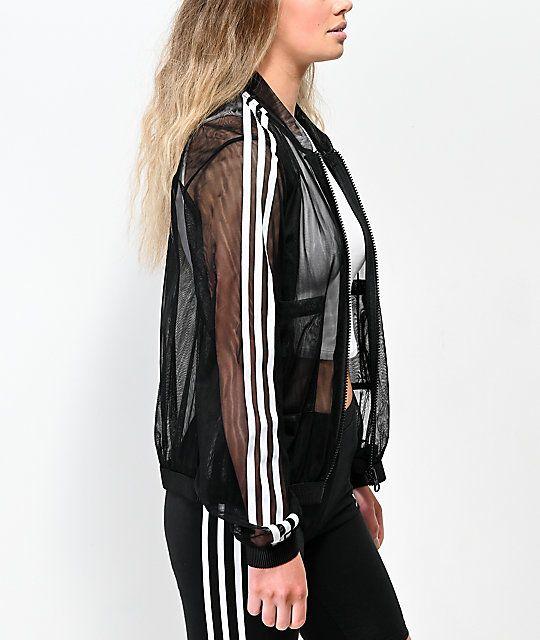 adidas 3 Stripe Tulle Black Track Jacket   Jackets, White