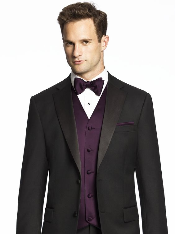 Black suit with vest and bow tie. Color: Aubergine | B & P Wedding