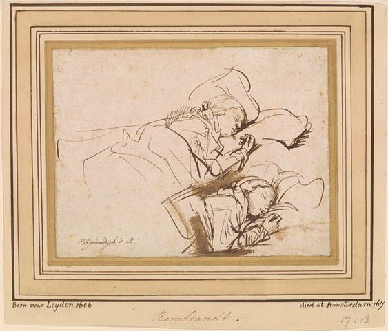 Rembrandt Harmenszoon van Rijn   Two Studies of Saskia Asleep   Drawings Online   The Morgan Library & Museum