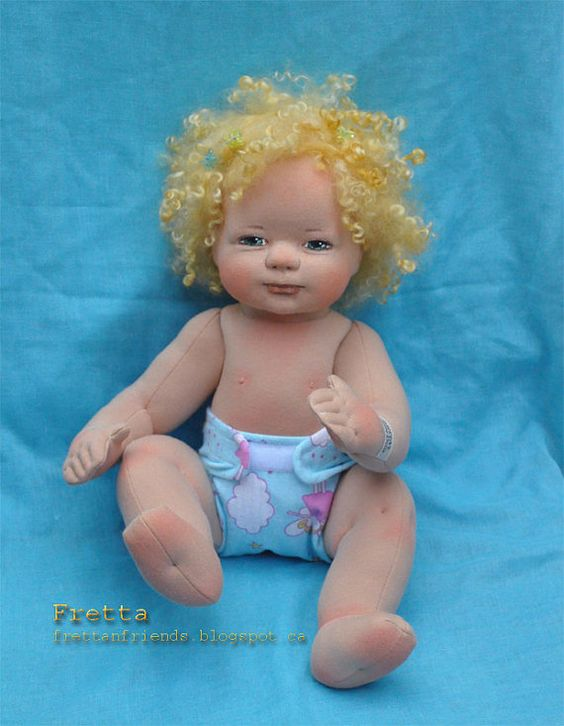 Fretta's OOAK Clay & Cloth Baby Doll Soft by FrettasLovableDolls: