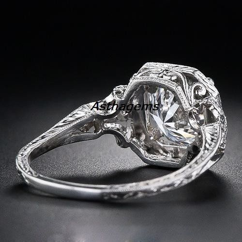 Vintage-Art-Deco-Ring-Sterling-925-Silver-Engagement-2-Carat-Lab-Created-Diamond