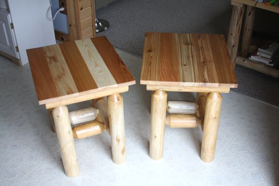 Small end tables with red cedar tops.