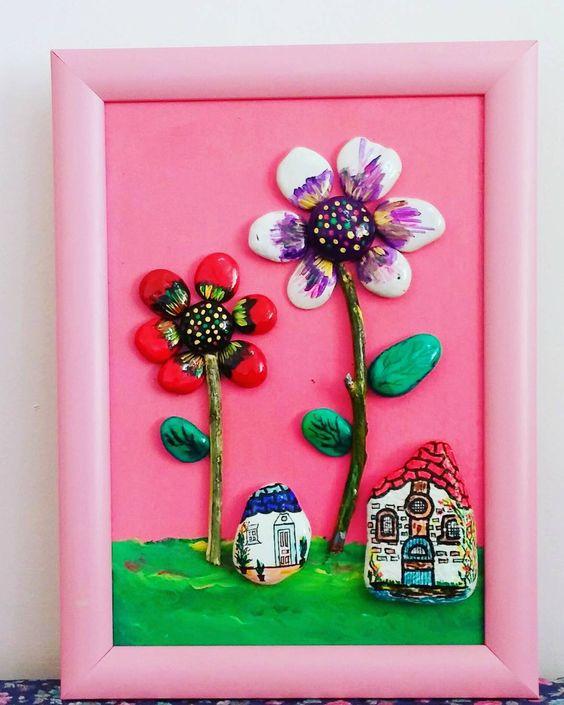 Evler çiçek açmiş #taslar #tablo #tasboyama  #stonepaintingart #stonespainting #art #cicek #evler #cicekliev #fu #gift #handmade #sanat
