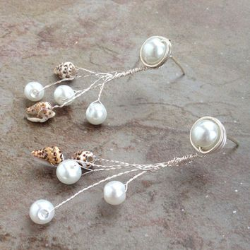 Earrings, stud with charm, beach, shell, glass pearl