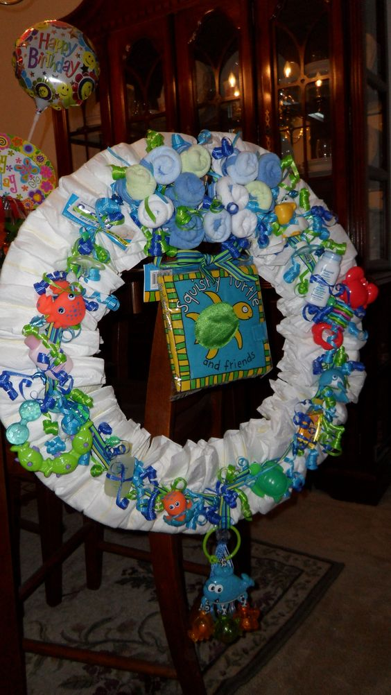 Diaper wreath--large--ocean theme..this was the first one I ever made :)