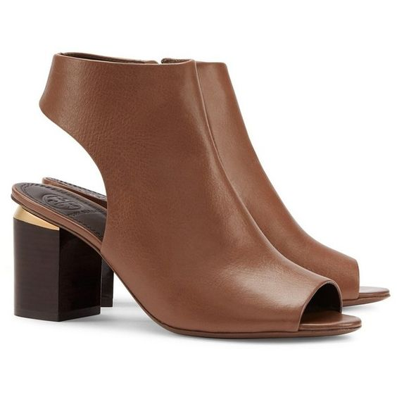 Tory Burch Jones Cut-Out Booties ($375) ❤ liked on Polyvore featuring shoes, boots, ankle booties, brown, brown leather booties, cutout booties, brown ankle booties, short leather boots and brown boots