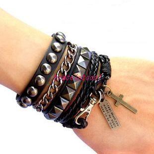 Punk Rock Style Black Leather Bracelet