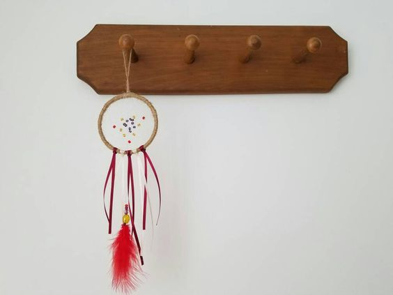 Dream Catcher Wall Hanging - Small Dreamcatcher - Red and Cream Boho Dreamcatcher - Boho Home Decor - Boho Bedroom Decor by FreckledMoonchild on Etsy