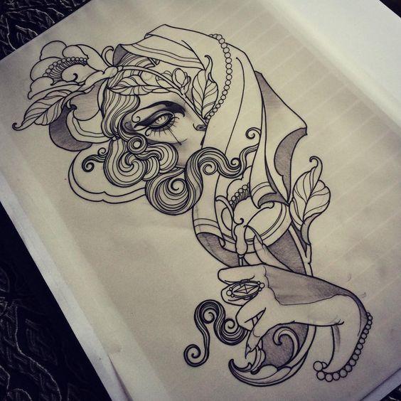 traditional jackalope tattoo