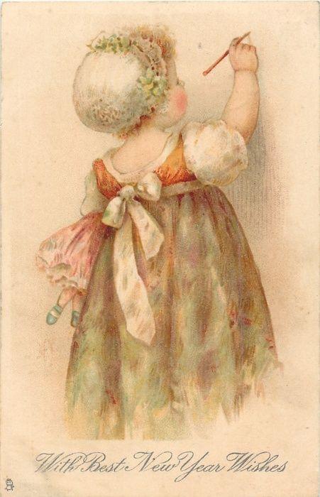 Helen Jackson - English- (1855-1911) vintage New Year postcard