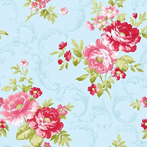 coleman papier peint mural floral ancien bleu rose. Black Bedroom Furniture Sets. Home Design Ideas