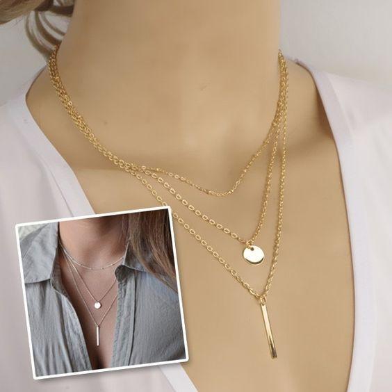 3-fache Halskette mit Anhängern - Jetzt reduziert bei Lesara