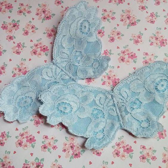 Vintage lace turned into adorable appliquéd butterfly headbands.  https://www.facebook.com/maxpluskate/