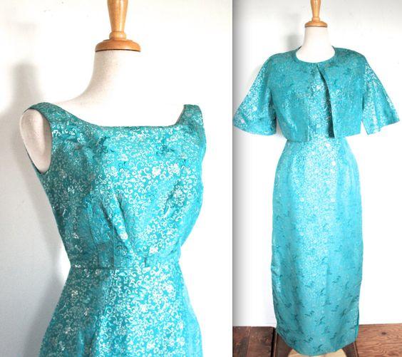 Vintage 50er Jahre Kleid / / 50 s 60 s Teal von TrueValueVintage